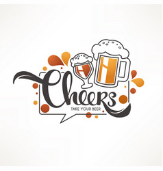 Cheers with draft beer mugs and vector