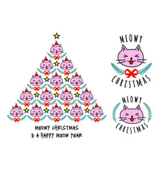 christmas card with cute cat tree vector image