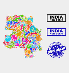 Composition industrial new delhi city map and vector