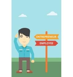 Confused man choosing career pathway vector