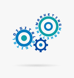 connected cogwheels digital marketing words vector image
