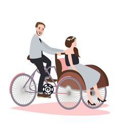 couple ride tricycle rickshaw together have fun vector image
