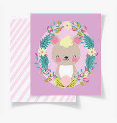 cute bear wreath flowers bashower card vector image