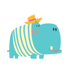 Cute cartoon blue hippopotamus in straw hat vector