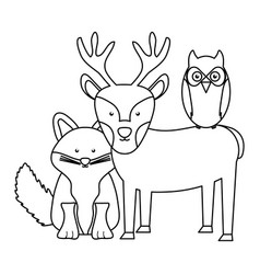 cute fox and reindeer with owl woodland characters vector image