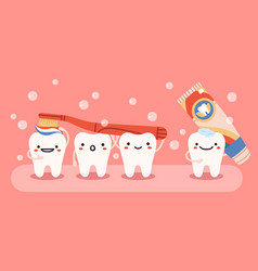 cute tooth hygiene smiling happy teeth mascots vector image