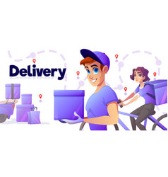 delivery poster with man and girl on bicycle vector image