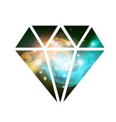 Diamond flat icon with space background inside vector