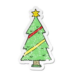 Distressed sticker of a cartoon christmas tree vector