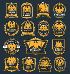 Eagle bird heraldic icons hawk heraldry symbols vector