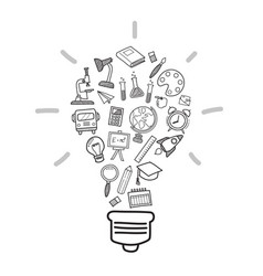 education icons in light bulb shape doodle style vector image