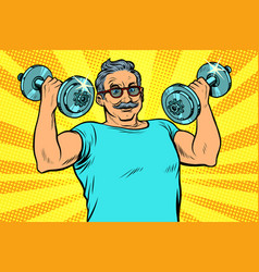 Elderly man lifts dumbbells fitness sport vector
