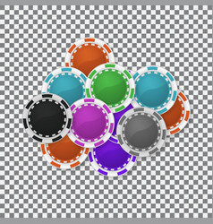 falling casino chips background poker gambling vector image