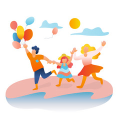 Family playing at beach summer time vector