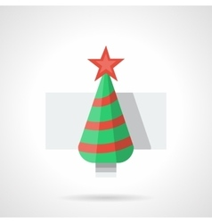Flat color New Year tree icon vector image