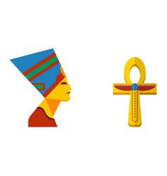 Flat design egypt travel cross icon pharaoh vector