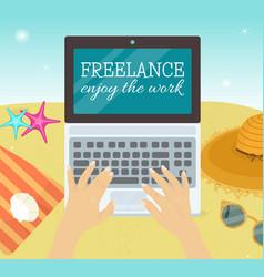 freelance enjoy the world vector image