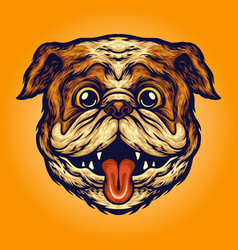 Funny pug head dog mascot vector