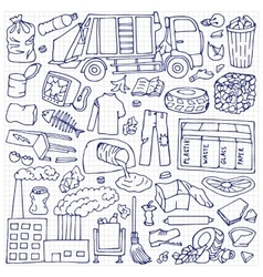 Garbage doodle set vector