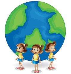 Girl standing in front of the earth vector image