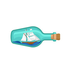 glass bottle with wooden ship inside miniature vector image