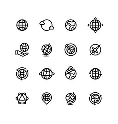 global world globe outline icons earth map and vector image