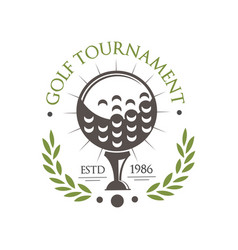 Golf tournament logo est 1986 retro sport label vector