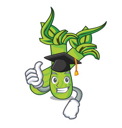 Graduation wasabi character cartoon style vector