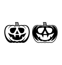 halloween pumpkin with happy face flat style vector image