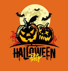 halloween pumpkins on orange vector image