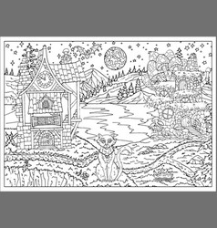 Halloween scene with witch houses and cat vector