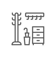 hanger in hallway clothing rack line icon vector image