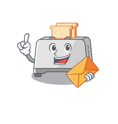 Happy face bread toaster mascot design with vector