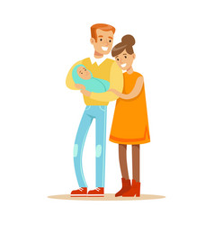 happy mother and father holding sweet adorable vector image