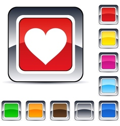Heart square button vector
