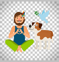 Hippie peace man with dog vector
