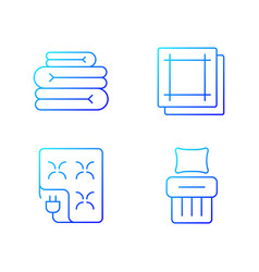 household textile gradient linear icons set vector image