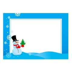 Hristmas frame snowmen vector