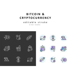 icon and logo bitcoin and cryptocurrency vector image