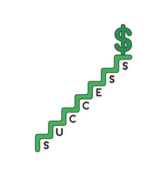 icon concept dollar on top success stairs vector image