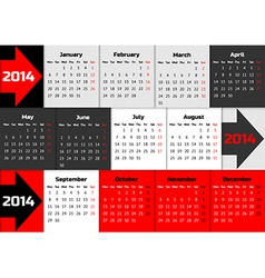 Infographic calendar 2014 with arrows vector image