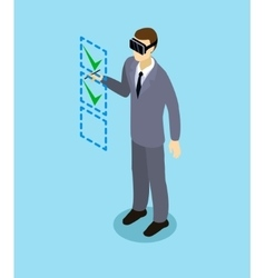 Isometric Businessman With Virtual Reality Headset vector