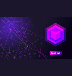 Isometric holographic geometric icon crypto curren vector