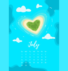 July 2018 year calendar page vector