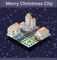 Landscape snow covered isometric city vector
