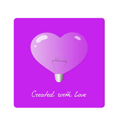 Light bulb in shape of heart with the word idea vector