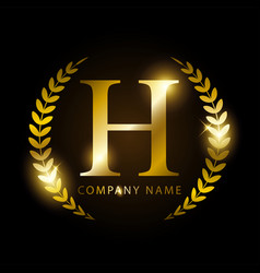 luxury golden letter h for premium brand identity vector image