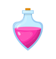 Magic potion in bottle with pink liquid isolated vector