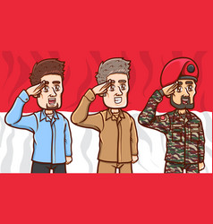 Man greetings indonesia independence day vector