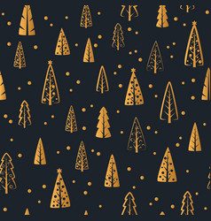 merry christmas gold tree seamless pattern vector image